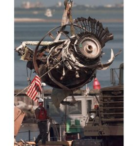 The final engine to be salvaged from the wreckage of TWA Flight 800 is loaded by crane onto a truck at the U.S. Coast Guard Shinnecock Station in Hampton Bays, N.Y., in 1996.