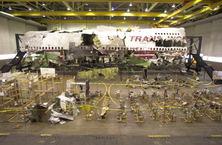 The remains of TWA Flight 800 inside a hangar in Calverton Long Island in 1996.