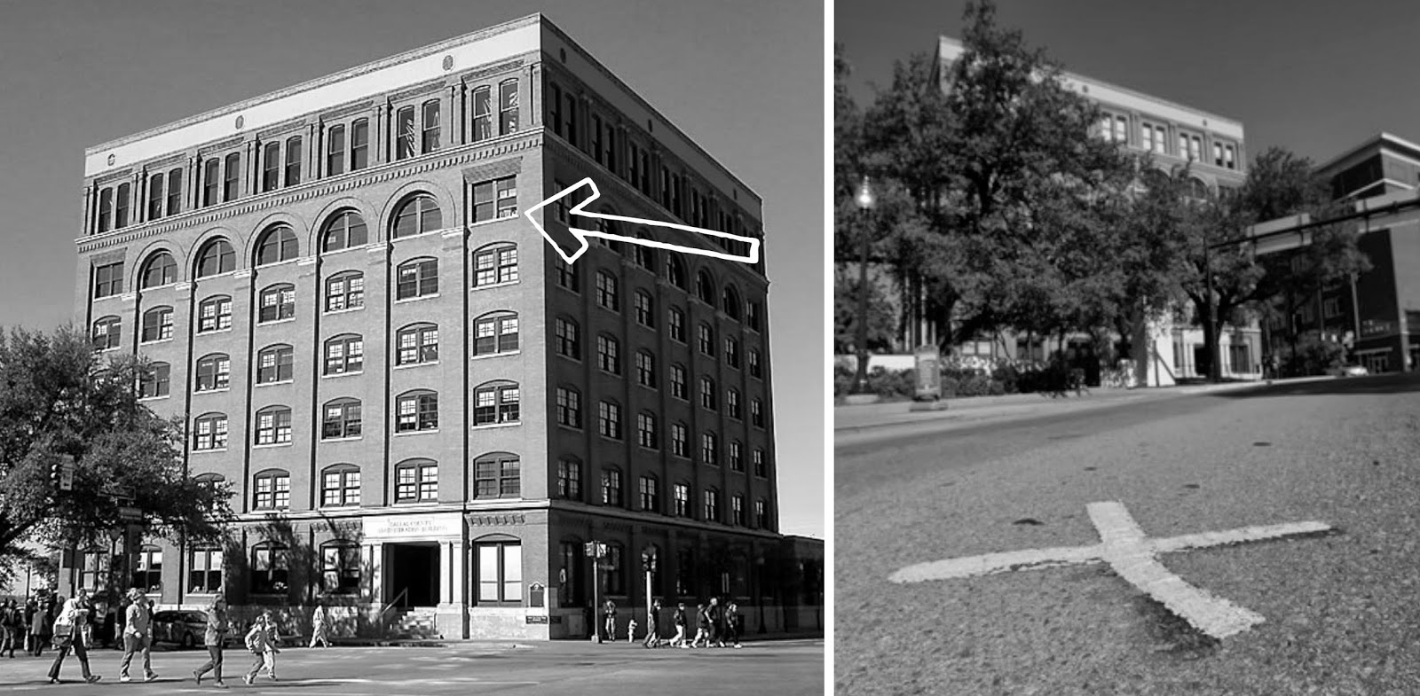 """Dallas School Book Depository Building – Left – Arrow pointing to the window in which the shots were fired. Right – The """"X"""" showing where the President was hit with open window in the book depository."""